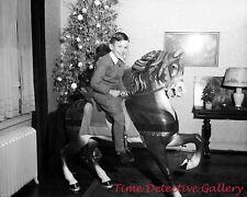 Boy on a Carousel Horse at Christmas - 1930s - Historic Photo Print