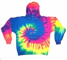 size XLG RAINBOW SWIRLS TIE DYE HOODIE sweatshirt unisex tye dyed hippie style