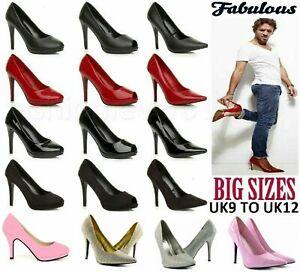 Women Mens Drag Queen Crossdresser High Heel Platform Court Shoe Large Size 3-12