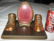 Antique Bronze Baby Boot Shoe Picture Photo Desk Tray Bowl Holder Art Frame Toy