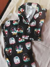 NWT Women's Black Holiday/Christmas 2 Piece Pajama Set Size Med Tall