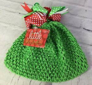 Little Wishes Infant Baby Girls Size 0+ Christmas Crochet Hat Green With Bow NEW