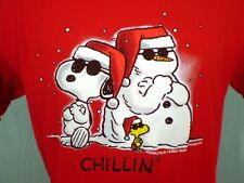 Peanuts Red Large T-Shirt Snoopy Woodstock Snowman Chillin' Cotton