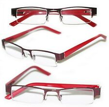 Reading Glasses BRUSHED METAL Top Only Rich RED Frame Narrow Lens +2.25