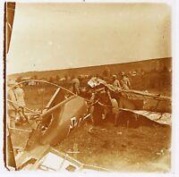 Krieg 14-18 Flugzeug Deutsch Erschossen Deutschland Frankreich Foto Stereo Blech