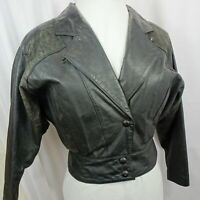 Black Leather Jacket Women Size Small Snap Lined Insulated Embossed Motorcycle