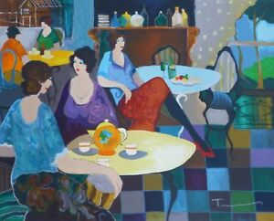 "Tarkay Itzchak ""AFTERNOON TEA"" Serigraph on Paper HAND SIGNED Large 26″ x 31.5"""