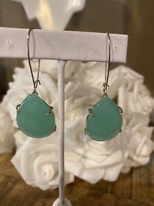 Kendra Scott Chalcedony Green Allison Teardrop Drop Gold Earrings Rare
