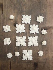 Decorative Resin squares Flowers c applique furniture mouldings onlay Set 15 Bit