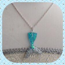 Aqua And Silver Glittery Mermaid Tail Necklace - Cute, Kawaii