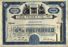 Chas. Pfizer & CO., Inc. Stock Certificate Blue