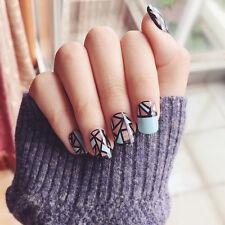 24pcs Cheap Broken Fake Nails Short Oval Full Cover Tips Thanksgiving Gift
