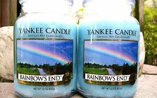 """SET OF 2 Yankee Candle """"RAINBOWS END"""" Rainbows End ~ Large 22 oz,~ WHITE LABEL"""