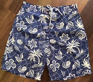 Polo Sport Ralph Lauren Hawaiian Blue w Tan Swim Trunks Board Shorts Mens Sz 34
