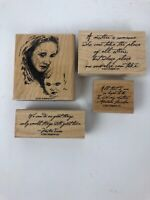 Stampin Up 2001 Mother & Child Set Of 4 Scrapbook Rubber Wood Mounted Stamp
