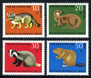 Germany-Berlin 9NB53-9NB56, MNH. Animals: Wildcat, Otter, Badger, Beaver, 1968