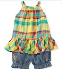Ralph Lauren Polo Baby Girls Ruffled Top And Short Set Size 6 Months