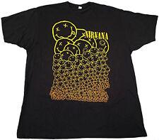 NIRVANA Smiley Faces T-shirt Kurt Cobain David Grohl Grunge Band Tee 2XL New