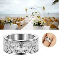 Irish Claddagh Celtic 925 Silver Care Heart Forever 2019 Wedding Bridal Rin E5L7