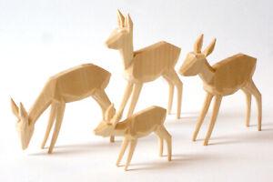 Rehe geschnitzt, geschnitzte Rehgruppe 7cm, naturt, Reh, Krippe, Krippenfiguren