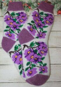NEW SOCKS WOMEN's FLOWERS natural Russian sheep yarn merino size 7US
