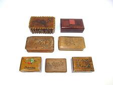 7 X Boîtes à Timbres Bois France Suisse vers 1880 Collection