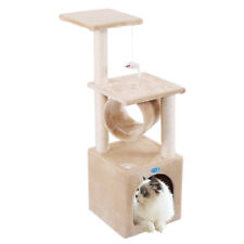 "36"" Deluxe Cat Tree Condo Furniture House Tunnel Scratcher Pet Play Toy Beige"