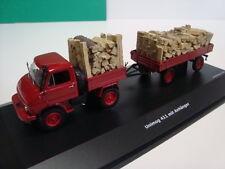 Schuco 1:43 Unimog U 411 mit Anhänger und Holzladung 450312900 NEU OVP