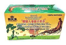 2 Boxes Royal King Ginseng Ginkgo Biloba Tea 40 Tea bags total