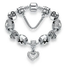 925 Silver Plated Ladies Snake Chain Bracelet With Multiple charms UK Seller