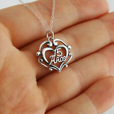 15 Años Heart Necklace - 925 Sterling Silver - Filigree Quinceañera Pendant NEW