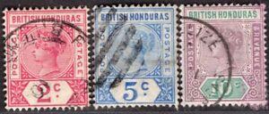 BRITISH HONDURAS 1891/8 STAMP THREE STAMPS USED