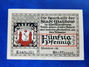 MALCHOW NOTGELD 50 PFENNIG 1921 EMERGENCY MONEY GERMANY BANKNOTE (14404)