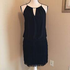 Cache Size 8 NWT Black Fringe Dress MSRP $198