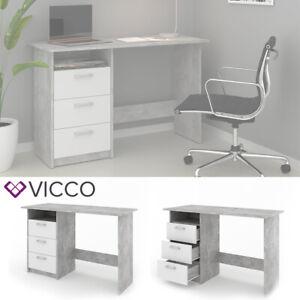 VICCO Schreibtisch MEIKO Weiß Beton Optik Arbeitstisch Bürotisch Regal PC Tisch