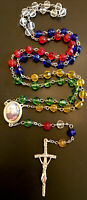 Vintage Catholic Multicolor Glass 5 Decade Rosary, Silver Tone, Crucifix Italy