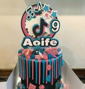 TikTok Cake Topper Personalised With Age, Teenager Birthday, Shaker Topper
