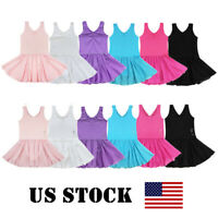 US Girls Ballet Dance Dress Ballerina Print Gymnastics Leotard Costume Dancewear