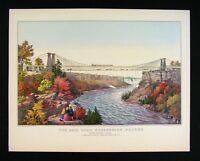 Currier & Ives Print - Railroad Suspension Bridge Niagara Falls New York Canada