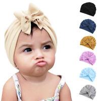 Newborn Toddler Kids Turban Cotton Beanie Hat Cap Bow Headband Bonnet Headwear