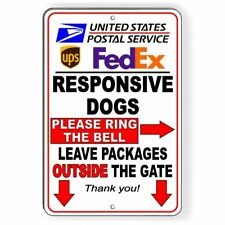 Responsive Dogs Ring Bell Leave All Packages Outside Gate Sign Metal usps Si051
