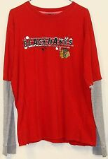 Blue Line NHL Mens Red Chicago BlackHawks Thermal Long Sleeve T Shirt Medium M