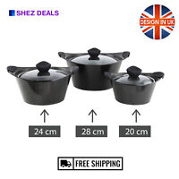 Non Stick Stock pot Aluminium Induction Set Casserole Cooking Pot Pan Glass Lid