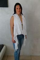 gilet cardigan destructuré en coton blanc HIGH USE T M (38-40) NEUF ÉTIQUETTE