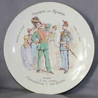 "BEAUTIFUL FRENCH POTTERY LUNEVILLE PLATE ""RUSSIAN & FRENCH"" ""FRANCE & RUSSIE"" A)"