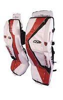 "New DR X5 Jr. ice hockey goalie pads White/Blue/Red 28"" inch junior goal leg pad"