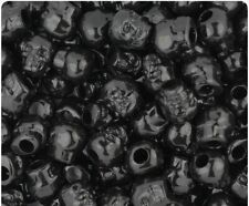 """10 x 11mm Black Opaque Skull Pony Beads """"Great for Halloween"""" *NOW IN STOCK*"""