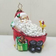 Christopher Radko Christmas Ornament Mercury Glass Tree Decoration Santa Tub