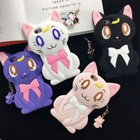 Cartoon 3D Silicone Sailor Moon Luna Cat Cute Soft Case Cover for iPhone 5 6 7P