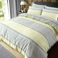 Luxury Banded Stripe Grey Yellow Duvet Cover Set Pillow Case Single Double King